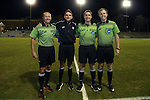 28 November 2015: Match officials. From left: Assistant Referee Bill Dittmar, Fourth Official Jeremy Smith, Referee Mark Kadlecik, and Assistant Referee Jude Carr. The University of North Carolina Tar Heels hosted the Creighton University Bluejays at Fetzer Field in Chapel Hill, NC in a 2015 NCAA Division I Men's Soccer Tournament Third Round match. Creighton won the game 1-0.