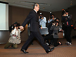 March 14, 2017, Tokyo, Japan - Troubled Japanese electroinics giant Toshiba president Satoshi Tsunakawa leaves a press conference after he announced the company delayed to release financial result at the Toshiba headquarters in Tokyo on Monday, March 14, 2017. If Toshiba fails to meet the next deadline, it could be delisted from the Tokyo Stock Exchange.    (Photo by Yoshio Tsunoda/AFLO) LwX -ytd-