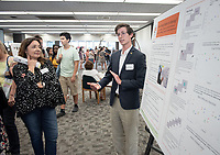 """Are Artists Better at Seeing?"" by Oliver Killeen<br /> (Mentor: Carmel Levitan, Cognitive Science)<br /> Occidental College's Undergraduate Research Center hosts their annual Summer Research Conference, Aug. 1, 2018. Student researchers presented their work as either oral or poster presentations at the final conference. The program lasts 10 weeks and involves independent research in all departments.<br /> (Photo by Marc Campos, Occidental College Photographer)"