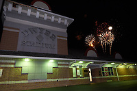 General view of the fireworks after a Batavia Muckdogs game against the Auburn Doubledays on July 4, 2017 at Dwyer Stadium in Batavia, New York.  Batavia defeated Auburn 3-2.  (Mike Janes/Four Seam Images)