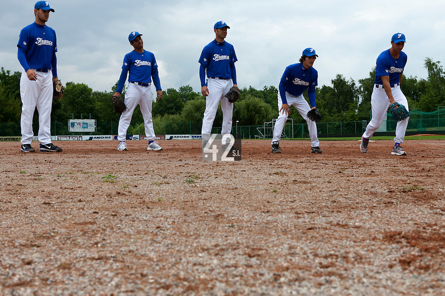 21 June 2011: Quentin Becquey, Thomas Meley, Pierrick Le Mestre, Eloi Secleppe, Laurent Andrades, are seen  prior UCLA Alumni 5-3 win over France, at the 2011 Prague Baseball Week, in Prague, Czech Republic.