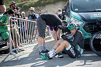 final finisher up the Tourmalet (HC/2115m/19km @7.4%) was Marcus Burghardt (DEU/BORA-hansgrohe); he finished 30 minutes behind race winner Pinaut in this (very) short stage<br /> <br /> Stage 14: Tarbes to Tourmalet (117km)<br /> 106th Tour de France 2019 (2.UWT)<br /> <br /> ©kramon