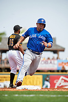 Toronto Blue Jays catcher Humberto Quintero (46) running the bases during a Spring Training game against the Pittsburgh Pirates on March 3, 2016 at McKechnie Field in Bradenton, Florida.  Toronto defeated Pittsburgh 10-8.  (Mike Janes/Four Seam Images)