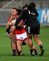 Julianne Zussman is tackled high during the 2017 International Women's Rugby Series rugby match between the NZ Black Ferns and Canada at Westpac Stadium in Wellington, New Zealand on Friday, 9 June 2017. Photo: Dave Lintott / lintottphoto.co.nz