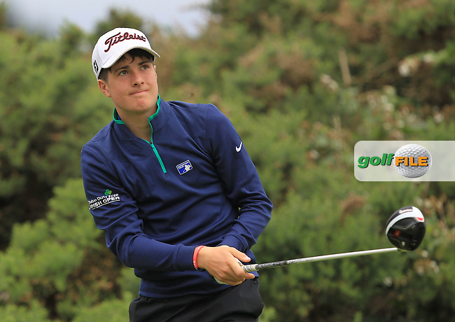 Cillian Lawless (Athenry) on the 12th tee during R2 of the 2016 Connacht U18 Boys Open, played at Galway Golf Club, Galway, Galway, Ireland. 06/07/2016. <br /> Picture: Thos Caffrey | Golffile<br /> <br /> All photos usage must carry mandatory copyright credit   (&copy; Golffile | Thos Caffrey)