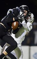 NWA Democrat-Gazette/CHARLIE KAIJO Bentonville West High School quarterback Stephen Dyson (5) breaks up a pass intended for Bentonville High School Ben Pankau (10) during a football game, Friday, November 2, 2018 at Bentonville High School in Bentonville.