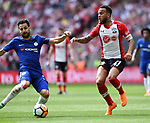 Ryan Bertrand of Southampton is challenged by Cesc Fabregas of Chelsea during the FA cup semi-final match at Wembley Stadium, London. Picture date 22nd April, 2018. Picture credit should read: Robin Parker/Sportimage