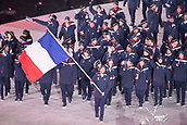 9th February 2018, Pyeongchang, South Korea; 2018 Winter Olympic Games; PyeongChang Olympic Stadium; Biathlete Martin Fourcade leading the national team during the Opening ceremony carrying flag of France