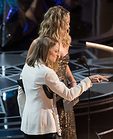Jodi Foster and Jennifer Lawrence present the Oscar&reg; for best actress in a leading role to Frances McDormand for work on &quot;Three Billboards Outside Ebbing, Missouri&quot; during the live ABC Telecast of The 90th Oscars&reg; at the Dolby&reg; Theatre in Hollywood, CA on Sunday, March 4, 2018.<br /> *Editorial Use Only*<br /> CAP/PLF/AMPAS<br /> Supplied by Capital Pictures