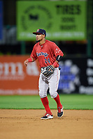 Portland Sea Dogs second baseman Deiner Lopez (24) during a game against the Binghamton Rumble Ponies on August 31, 2018 at NYSEG Stadium in Binghamton, New York.  Portland defeated Binghamton 4-1.  (Mike Janes/Four Seam Images)