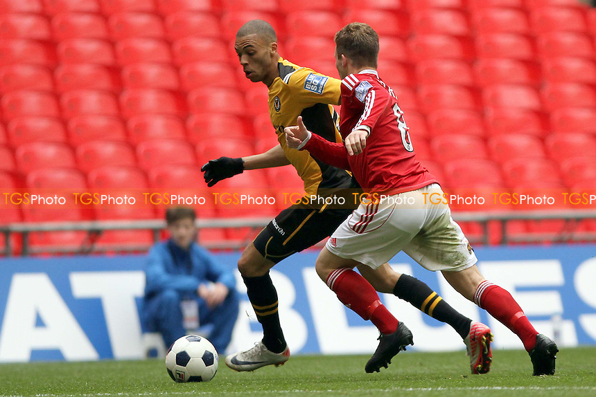 Christian Jolley (Newport County AFC) holds off Jay Harris (Wrexham FC) - Newport County vs Wrexham - Blue Square Conference Play-Off Final Football at Wembley Stadium - 05/05/13 - MANDATORY CREDIT: Mick Kearns/TGSPHOTO - Self billing applies where appropriate - 0845 094 6026 - contact@tgsphoto.co.uk - NO UNPAID USE.