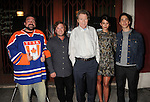 LOS ANGELES, CA- SEPTEMBER 16: (L-R) Writer/director Kevin Smith, actors Haley Joel Osment, Michael Parks, Genesis Rodriguez and Justin Long arrive at the Los Angeles premiere of 'Tusk' at the Vista Theatre on September 16, 2014 in Los Angeles, California.