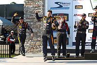 2017 IMSA Continental Tire SportsCar Challenge<br /> Visit Sebring 120<br /> Sebring International Raceway, Sebring, FL USA<br /> Friday 17 March 2017<br /> 56, Porsche, Porsche Cayman, ST, Jeff Mosing, Eric Foss, podium<br /> World Copyright: MIchael L. Levitt<br /> LAT Images<br /> ref: Digital Image levitt_seb_0317-15489