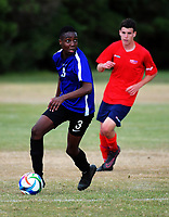 Action from the New Zealand Age Group Championships Under-15 Boys match between WaiBoP (red tops) and Mainland at Memorial Park in Petone, Wellington, New Zealand on Wednesday, 13 December 2017. Photo: Dave Lintott / lintottphoto.co.nz