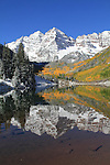 Autumn snow at Maroon Lake, and Maroon Bells Peaks, Aspen, Colorado John offers autumn photo tours throughout Colorado.