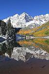 Autumn snow at Maroon Lake, and Maroon Bells Peaks, Aspen, Colorado John offers autumn photo tours throughout Colorado.