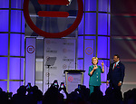 FORT LAUDERDALE,  FL - JULY 31: Democratic Presidential hopeful former Secretary of State Hillary Rodham Clinton and National Urban League President & CEO Marc H. Morial onstage during the Presidential Candidates Plenary at the National Urban League Conference at Broward County Convention Center on Friday July 31, 2015 in Fort Lauderdale, Florida ( Photo by Johnny Louis / jlnphotography.com )