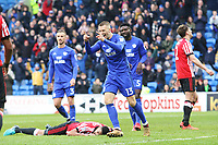 Anthony Pilkington of Cardiff City celebrates scoring his sides fourth goal of the match  during the Sky Bet Championship match between Cardiff City and Sunderland at the Cardiff City Stadium, Wales, UK. Saturday 13 January 2018