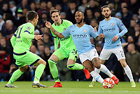 Manchester City's Raheem Sterling under pressure from FC Schalke 04&rsquo;s Yevhen Konoplyanka<br /> <br /> Photographer Rich Linley/CameraSport<br /> <br /> UEFA Champions League Round of 16 Second Leg - Manchester City v FC Schalke 04 - Tuesday 12th March 2019 - The Etihad - Manchester<br />  <br /> World Copyright &copy; 2018 CameraSport. All rights reserved. 43 Linden Ave. Countesthorpe. Leicester. England. LE8 5PG - Tel: +44 (0) 116 277 4147 - admin@camerasport.com - www.camerasport.com