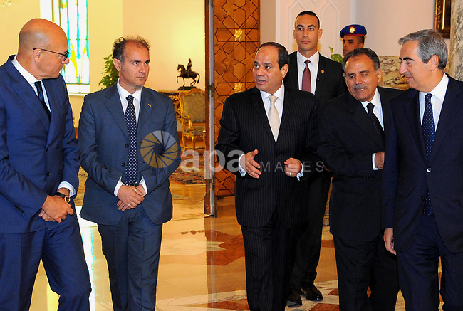 Egyptian President Abdel Fattah al-Sisi meets with a delegation from the Italian Parliament, in Cairo, Egypt, on July 11, 2017. Photo by Egyptian President Office