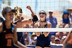 GULF SHORES, AL - MAY 07:  Anika Wilson (14) of Pepperdine University celebrates winning a point during the Division I Women's Beach Volleyball Championship held at Gulf Place on May 7, 2017 in Gulf Shores, Alabama.The University of Southern California defeated Pepperdine 3-2 to claim the national championship. (Photo by Stephen Nowland/NCAA Photos via Getty Images)
