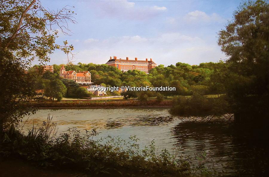 BNPS.co.uk (01202 558833)<br /> Pic: VictoriaFoundation/BNPS<br /> <br /> Carl Laubin - The Star and Garter From the Thames Footpath.<br /> <br /> The only view in England which is considered so beautiful it is protected by an Act of Parliament has been captured by various artists in a new book.<br /> <br /> The view from Richmond Hill in London would normally have been buried under urban sprawl as the capital has grown over the last hundred years, but thanks to the enlightened Act of 1902 this idyllic oasis still survives<br /> <br /> Under the Richmond, Ham and Petersham Open Spaces Act (1902), no construction was allowed which would impinge on the picturesque view from Richmond Hill in south-west London made famous by artist's such as JMW Turner in the previous century.<br /> <br /> Prominent in the panorama - perched on top of Richmond Hill - is the Grade II listed Star and Garter Building which until recently housed injured ex-servicemen but has now been converted into 84 apartments.<br /> <br /> Seventeen artists were commissioned for the project - which also included an exhibition - and they have created idyllic snapshots of the Star and Garter Building, Richmond Park and the river Thames from different vantage points.