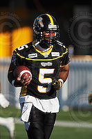 June 23, 2009; Hamilton, ON, CAN; Hamilton Tiger-Cats quarterback Kevin Glenn (5). CFL football: Toronto Argonauts vs. Hamilton Tiger-Cats at Ivor Wynne Stadium. The Argos defeated the Tiger-Cats 27-17. Mandatory Credit: Ron Scheffler. Copyright (c) 2009 Ron Scheffler.
