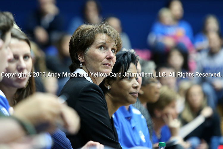 27 January 2013: Former Duke head coach Gail Goestenkors watched the game from the front row. The Duke University Blue Devils played the Boston College Eagles at Cameron Indoor Stadium in Durham, North Carolina in an NCAA Division I Women's Basketball game. Duke won the game 80-56.