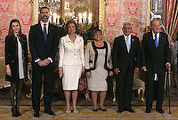 Spain's Princess Letizia, crown Prince Felipe, Queen Sofia, King Juan Carlos I, Guatemala's president Otto Martinez and first Lady Rosa Leal during audiences. February 13, 2013. (ALTERPHOTOS/Alvaro Hernandez) /NortePhoto