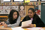 Union City CA 8th grade students discussing one student's composition in English class