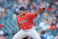 Pawtucket Red Sox starting pitcher William Cuevas (25) in action against the Charlotte Knights at BB&T BallPark on July 19, 2018 in Charlotte, North Carolina. The Knights defeated the Red Sox 4-3.  (Brian Westerholt/Four Seam Images)