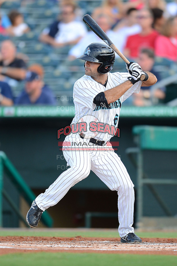 Jupiter Hammerheads outfielder Ryan Goetz (6) during a game against the Tampa Yankees on July 17, 2013 at Roger Dean Stadium in Jupiter, Florida.  Jupiter defeated Tampa 4-3.  (Mike Janes/Four Seam Images)