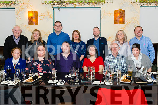 Niall and Mairead Foley from Gneeveguilla celebrated their 30th and 40th birthday with front l-r Margaret, Cathriona and Michael Foley and Patricia Lydon, back l-r Tim and Elaine Foley, Tom O'Dwyer, Carmel Foley, Rory Murphy, Marion Foley and Don Casey all from Gneeveguilla in the Lord Kenmare Restaurant, Killarney last Saturday night.