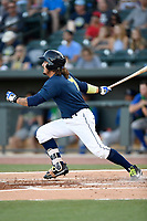 Left fielder Jay Jabs (7) of the Columbia Fireflies bats in a game against the Lexington Legends on Thursday, June 8, 2017, at Spirit Communications Park in Columbia, South Carolina. Columbia won, 8-0. (Tom Priddy/Four Seam Images)