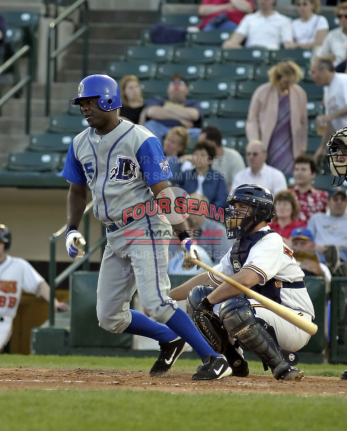 May 10, 2004:  Jason Maxwell of the Durham Bulls, International League (AAA) affiliate of the Tampa Bay Devil Rays, during a game at Frontier Field in Rochester, NY.  Photo by:  Mike Janes/Four Seam Images