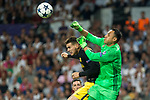 Lucas Hernandez of Atletico de Madrid competes for the ball with Keylor Navas of Real Madrid  during the match of Champions League between Real Madrid and Atletico de Madrid at Santiago Bernabeu Stadium  in Madrid, Spain. May 02, 2017. (ALTERPHOTOS/Rodrigo Jimenez)