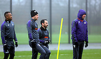 (L-R) Jordan Ayew, Gylfi Sigurdsson, Leon Briton and head coach Paul Clement during the Swansea City Training at The Fairwood Training Ground, Swansea, Wales, UK. Wednesday 22 February 2017