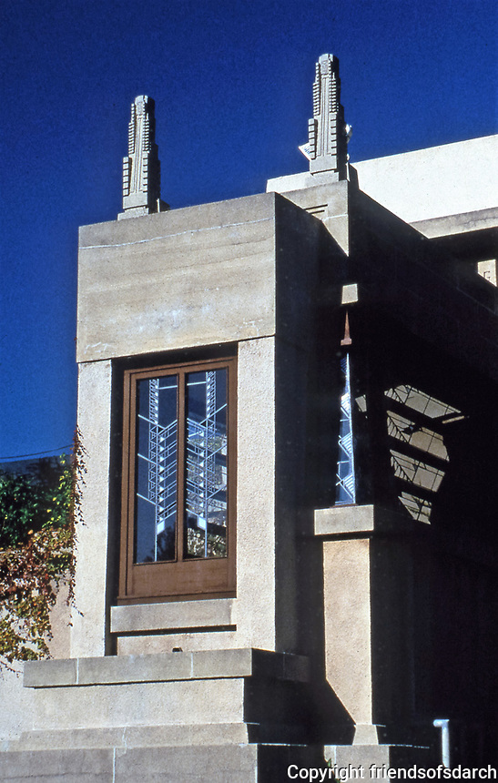 Frank Lloyd Wright:  Hollyhock House, Hollywood, 1917.  Detail of stained glass windows.