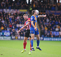 Lincoln City's Neal Eardley battles with Shrewsbury Town's Shaun Whalley<br /> <br /> Photographer Andrew Vaughan/CameraSport<br /> <br /> The EFL Sky Bet League One - Shrewsbury Town v Lincoln City - Saturday 11th January 2020 - New Meadow - Shrewsbury<br /> <br /> World Copyright © 2020 CameraSport. All rights reserved. 43 Linden Ave. Countesthorpe. Leicester. England. LE8 5PG - Tel: +44 (0) 116 277 4147 - admin@camerasport.com - www.camerasport.com