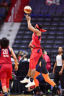 Washington, DC - June 3, 2018: Washington Mystics forward Myisha Hines-Allen (2) goes up for a jump shoot during game between the Washington Mystics and Connecticut Sun at the Capital One Arena in Washington, DC. (Photo by Phil Peters/Media Images International)
