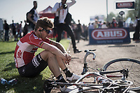 A pensive Jurgen Roelandts (BEL/Lotto-Soudal) after finishing a strong race in (only) 22nd place<br /> <br /> 115th Paris-Roubaix 2017 (1.UWT)<br /> One Day Race: Compi&egrave;gne &rsaquo; Roubaix (257km)