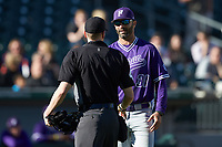 Furman Paladins head coach Brett Harker (31) discusses a call with home plate umpire Jon Byrne during the game against the Wake Forest Demon Deacons at BB&T BallPark on March 2, 2019 in Charlotte, North Carolina. The Demon Deacons defeated the Paladins 13-7. (Brian Westerholt/Four Seam Images)