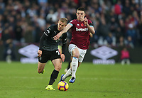 Burnley's Matej Vydra and West Ham United's Declan Rice<br /> <br /> Photographer Rob Newell/CameraSport<br /> <br /> The Premier League - West Ham United v Burnley - Saturday 3rd November 2018 - London Stadium - London<br /> <br /> World Copyright &copy; 2018 CameraSport. All rights reserved. 43 Linden Ave. Countesthorpe. Leicester. England. LE8 5PG - Tel: +44 (0) 116 277 4147 - admin@camerasport.com - www.camerasport.com