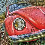 Retro vintage red VW automobile