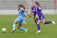 Bridgeview, IL, USA - Sunday, May 1, 2016: Chicago Red Stars defender Casey Short (6) and Orlando Pride forward Alex Morgan (13) during a regular season National Women's Soccer League match between the Chicago Red Stars and the Orlando Pride at Toyota Park. Chicago won 1-0.
