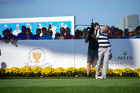 Kevin Kisner (USA) watches his tee shot on 15 during round 1 foursomes of the 2017 President's Cup, Liberty National Golf Club, Jersey City, New Jersey, USA. 9/28/2017.<br /> Picture: Golffile   Ken Murray<br /> ll photo usage must carry mandatory copyright credit (&copy; Golffile   Ken Murray)