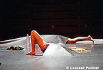Au théâtre de la Ville de Paris ..Concept et chorégraphie : Gilles Jobin..Assisté de Laura Beurdeley..Musique : Franz Treichler..Son : Clive Jenkins..Lumières : Daniel Demont..Costumes : Karine Vintache..Avec : Christine Bombal, Jean-Pierre Bonomo, Vinciane Gombrowicz, Lola Rubio, Florence Rougier, Pierre Rigal, Gilles Jobin