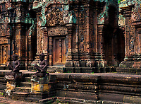 Banteay Srei during the wet season glowing in the last light of the afternoon.The temple of Banteay Srei or the Citadel of the Women.