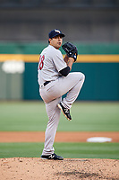 Scranton/Wilkes-Barre RailRiders starting pitcher Daniel Camarena (18) delivers a pitch during a game against the Buffalo Bisons on May 18, 2018 at Coca-Cola Field in Buffalo, New York.  Buffalo defeated Scranton 5-1.  (Mike Janes/Four Seam Images)