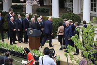 United States President Donald J. Trump completes his  remarks declaring a national emergency due to the COVID-19 coronavirus pandemic in the Rose Garden of the White House on March 13, 2020 in Washington, DC.<br /> Credit: Oliver Contreras / Pool via CNP/AdMedia